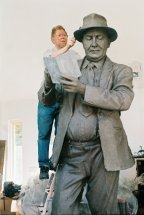 DOCKERS - TALLY CLERK: Les working on 9ft clay figure