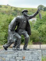 WELSH NATIONAL MINING MEMORIAL: Life size bronze memorial statue - Senghenydd Wales