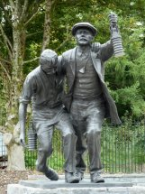 WELSH NATIONAL MINING MEMORIAL: Life size bronze statue - Senghenydd Wales.